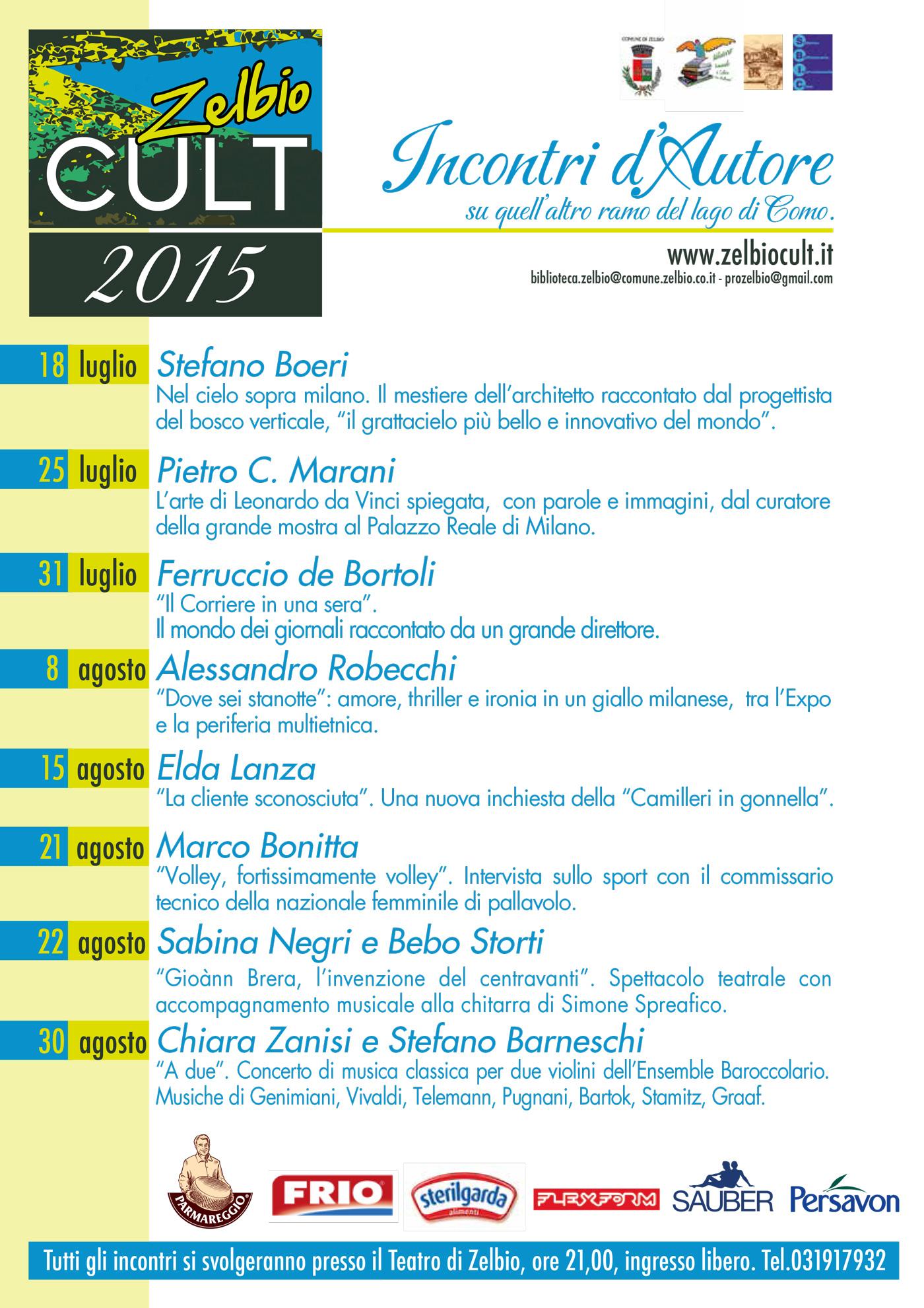 Programma Zelbio Cult 2015